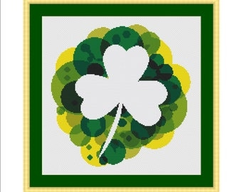 Cross stitch pattern, Shamrock, Clover, 4 leaf clover, Luck, St Patricks day, St Patrick, Saint Patricks day, Saint Patrick, St. Paddy's day