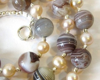 Botswana Agate Necklace, Semi-Precious Stone Jewelry, Neutral Colors with Blush Freshwater Pearls and Hill Tribe Silver Beads, Handmade