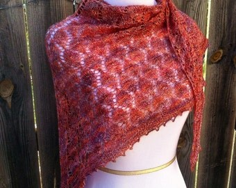 Shimmering Leaves, Silk and alpaca lace shawl, SHIPS FREE