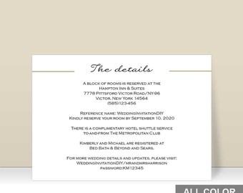 Wedding details card | Etsy