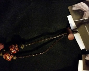 Wood Bead and Brown Leather Cord