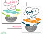 Baking Birthday Party Invitation | Cooking Party Invitation | Baking Invitation |  Chef Invitation - 5x7 with reverse side