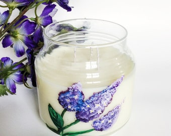 Lilac Candle/ 16oz 3 wick/ hand-painted/ natural soy wax/ refillable/ zero waste/ Mother's Day Gift