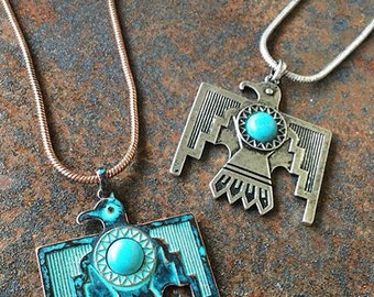 Thunderbird Necklace, Thunderbird Tribal Necklace, FAUX Antique Copper & Turquoise, Tribal Native Bohemian Style Necklace