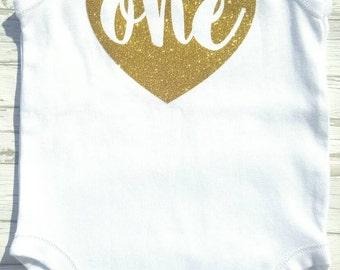 Heart gold glitter one onesie/ romper- first birthday- cakesmash- 1st birthday bodysuit
