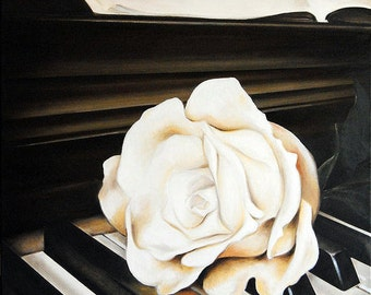 Oil Paint - Piano & Rose