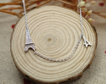 delicate 925 sterling silver Eiffel Tower necklace with CZ crystal, Paris tower charm,christmas,birthday,handmade,everyday,bridesmaid-WS3031