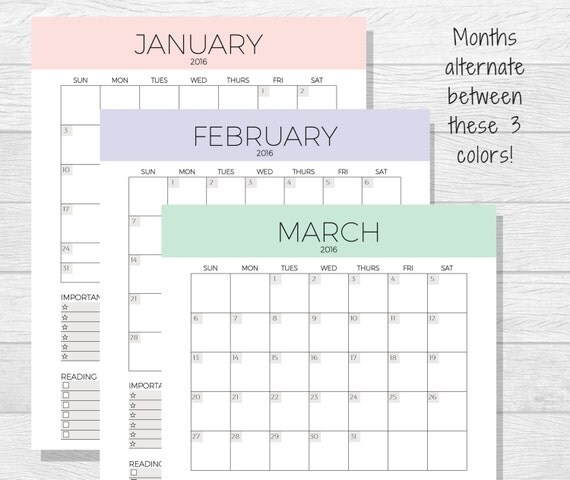 2016 Monthly Planner Printable Monthly by PurposefulPrintables
