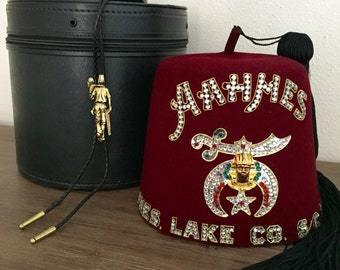 Vintage Aahmes Shriner Fez with Tassel, Black Case and Bolo; Shriners Fez; Grand Poobah Hat; Freemason Fez; Burgundy-Red Fez; Masonic Fez