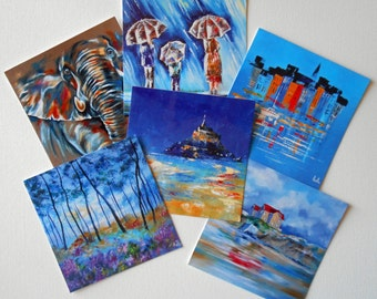 Six artist' postcards Squared with envelope