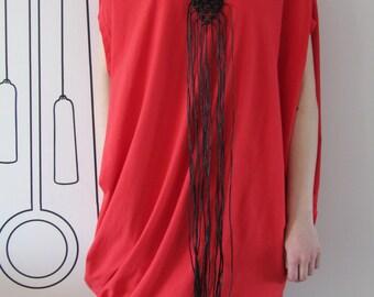 FREE SHIPPING / Handmade Black Necklace / Macrame / Bamboo / Gift Idea by FabraModaStudio / A918