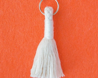 Large Tassel Key Ring - Cotton handmade key ring