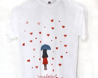 Rain of hearts handpainted white t-shirt for woman