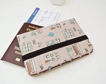Small Town Wandering Passport Wallet, Fabric Travel Wallet, Travel Document Holder, Family Passport Holder, Gift for Her - Made to Order