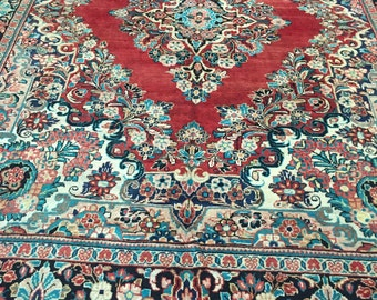 "9'2"" x 12' Antique Persian Meshkabad Sarouk Mohal Oriental Rug - 1930s - Hand Made - 100% Wool"