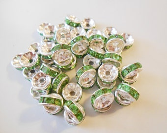 Rhinestone spacers Green crystal spacer beads Silver plated rondelle spacer beads 8 mm round spacers Green rhinestone Jewelry Supplies