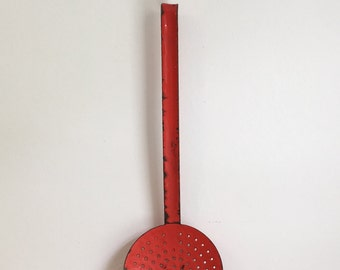 French Vintage Red Enamel Kitchen Skimmer x 2 Available