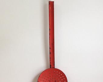 French Vintage Red Enamel Kitchen Skimmer
