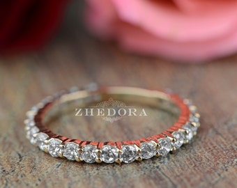 Eternity Band in 14k or 18k Solid Rose Gold , Eternity Wedding Band , Eternity Ring, Eternity Rose Gold Band
