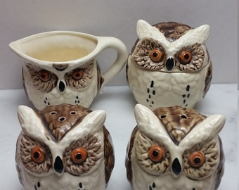 Vintage Owl Set, Cream and Sugar, Salt and Pepper, Enesco
