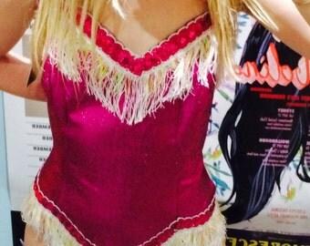 SALE Vintage Gorgeous Sparkly Pink Lurex Onesie Jumpsuit Burlesque Costume NYE Mardi Gras Cowgirl Fringing Sequinned Showgirl