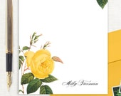 personalized notePAD - YELLOW ROSE - stationery - custom stationary - botanical - floral - flower - letter writing paper