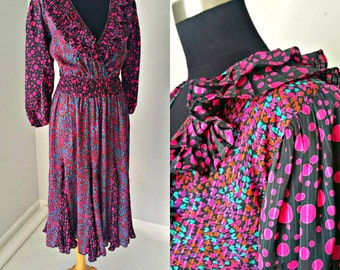 70s Diane Fres Original Georgette Ruffled Bohemian Peasant Dress