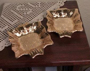 Set of 2 - Vintage Elynor China 22K Gold Drip Glaze Ceramic Dishes (1950s)