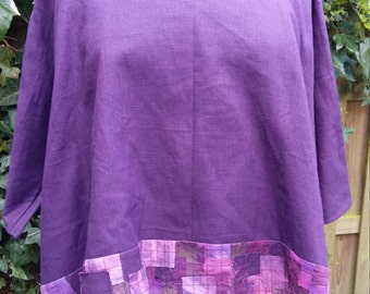 Purple Linen top with loose scarf and bezel