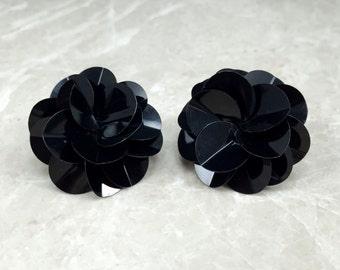 Vintage Black, Sequin Earrings, Vintage 80s Earrings, 1980s Earrings, Black 80s Earrings, Black Statement, Statement Studs, 80s Studs