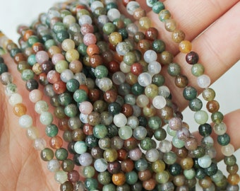 4mm Fancy Jasper Round - Mixed Color Beads Genuine Natural Gemstones Full Strand A Quality