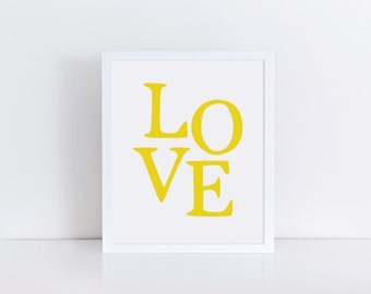 LOVE Print, Yellow Love Wall Art, Printable Typography Artwork, Golden Modern Wall Decor, Love Word Print, Digital Poster Print, Mustard