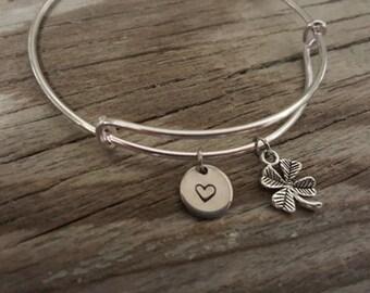 Shamrock Bangle - Four Leaf Clover - 4 Leaf Clover - Luck Bangle - Lucky Bracelet - Good Fortune Jewelry -  Irish Bangle - I/B/H