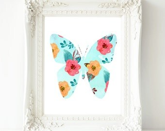 Printable Wall Art, Butterfly printable art, Baby Girl Nursery decor, Nursery art, Baby Girl Nursery Print, love quote, gallery wall, aqua