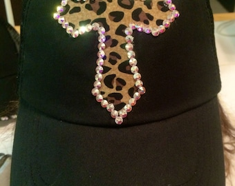 Black and Leopard Cross Hat