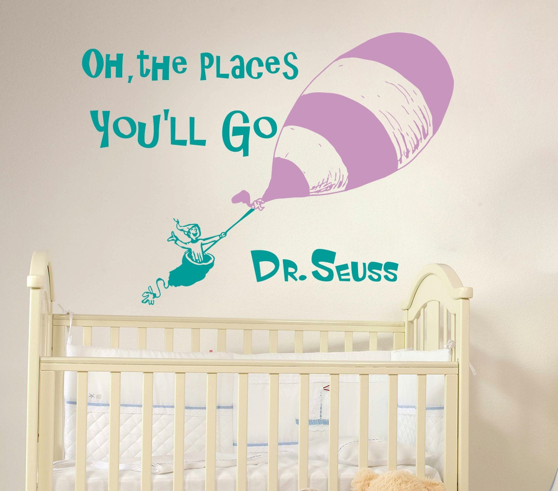Wall decal dr seuss quote vinyl sticker decals by for Dr seuss wall mural decals