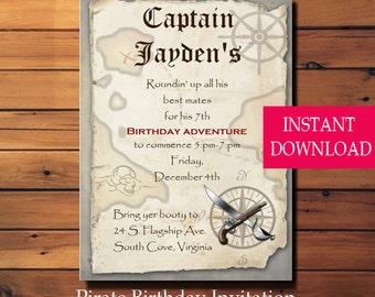 Pirate Birthday Invitation - Birthday Party - Boy Birthday - Instant Download - Editable PDF - Template - Pirate Birthday -Pirate Party