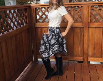 Women's Сheck Skirts / Black Skirt / Women's Knee Length Skirts