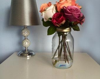 Shabby chic inspired silk rose arrangement in Mason jar