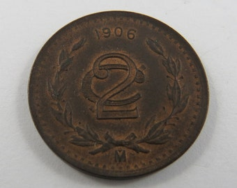 Mexico 1906 M Wide Date 2 Centavos Coin.