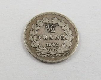 France 1842 A Silver Half Franc Coin.