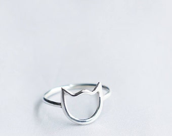 Cat Ring, Cat Jewelry, Dainty Ring, Kitty Ring, Silver Cat Ring, Minimalist Ring, Sterling Cat Ring, Animal Ring, Cat Lover, NH14