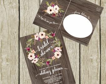 Bridal Shower Invitation Printable, Bridal Shower Invitation Postcard, Floral Bridal Shower Invites, Rustic Bridal Shower