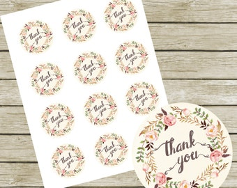 """Thank You Tags Printable 2"""" Round Tags. Instant Download. Thank You Tags for Baby Shower. Thank You Tags for Wedding. Thank you Labels."""