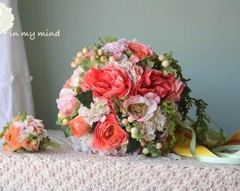Bridal bouquet , Silk bouquet, Wedding bouquet , Garden bouquet , Garden Rose ,Orange , Peach , Bouquet with Groom's Boutonniere  #No20_002O