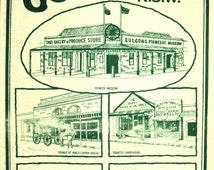 Historic Gulgong Gold Rush Souvenir Tea Towel - Vintage Pioneer Museum Opera House Gudgeon Cottage Post Office Hotel - New Old Stock