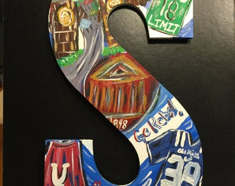 "Ole Miss custom painted letter door hanger - small 14"""