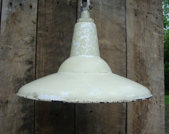 "Vintage barn light fixture , porcelain 16"" , made by amalgamated electric co."