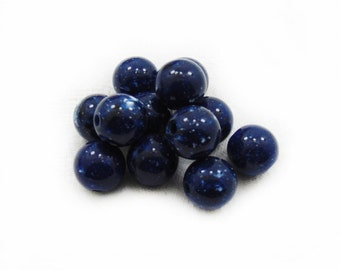 Blue Acrylic Beads, Acrylic Beads, 14mm Blue Acrylic Beads, Round Beads, 10 pcs Acrylic Beads, Jewelry Making, Craft Supplies