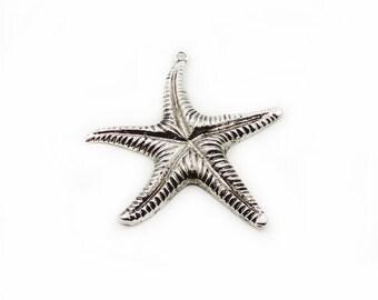 Large Starfish Pendant, Antique Silver Starfish, Large Pendant, Antique Pendant, Jewelry Making, DIY Pendant, Metal Pendant